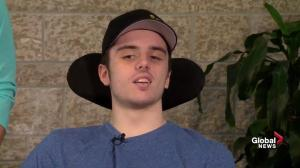 Injured Humboldt player Ryan Straschnitzki happy to be home in Alberta